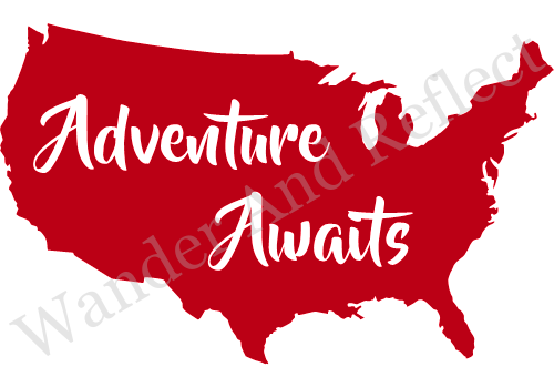 Red decal of adventure awaits on America