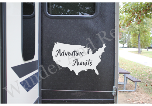 Adventure Awaits on this white sticker for campers