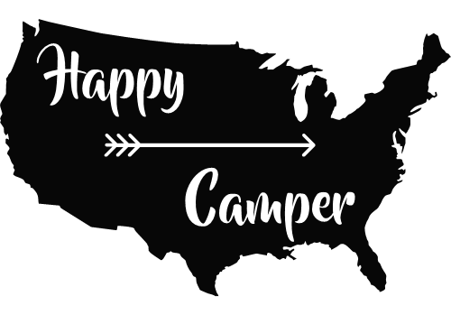 An arrow points in the right direction to become a Happy Camper with this decal.