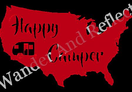 A bright red Happy Camper sticker.
