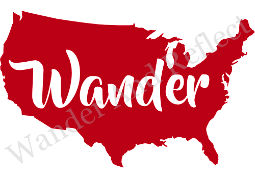 Wander America decal in red.