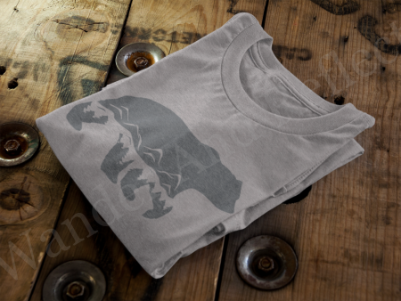 Charcoal gray bear graphic on a heather gray shirt.