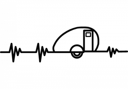 Watch your pulse slow as you relax camping. Show that EKG with a black decal.