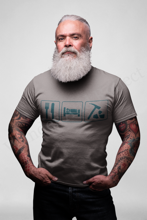 Eat Sleep and hunt rocks in turquoise graphics on a charcoal t-shirt.