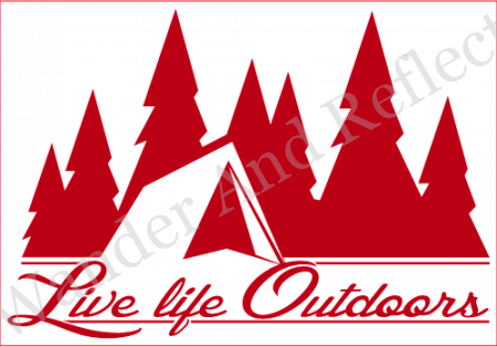 Are you Living Life Outdoors? Proclaim it with this red vanlife decal.