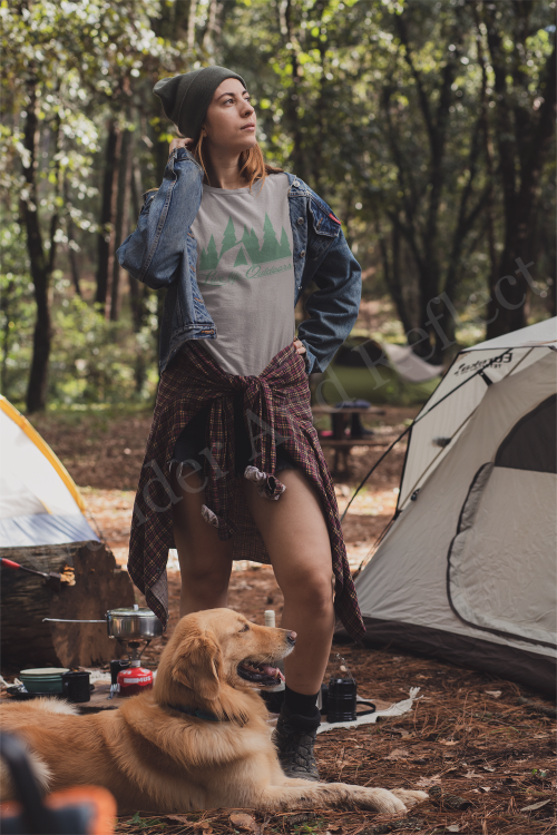 Heather gray shirt with tent camping scene.