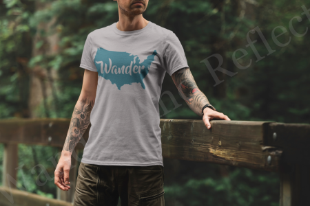 Turquoise wander America on a heather gray shirt.