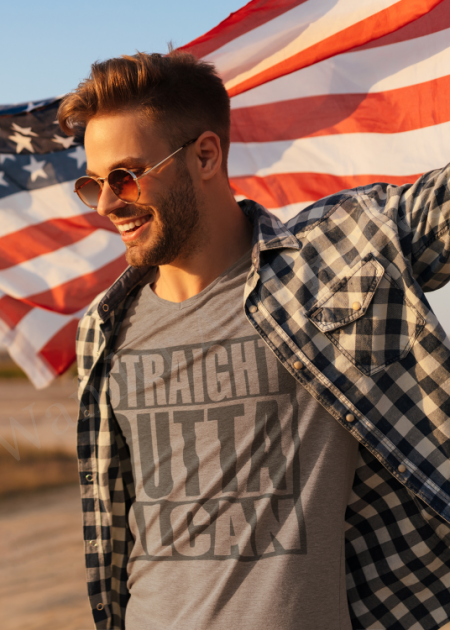 The Alcan, Alaska Canadian highway memorial shirt.