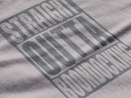 Straight outta boondocking with this gray tshirt.
