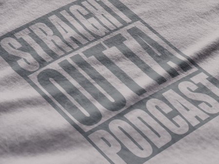 This charcoal gray on heather gray shirt design is for podcasters,