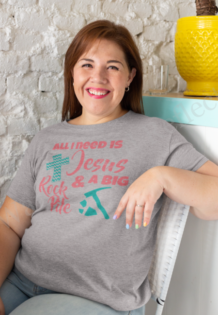 Cotton blend light gray tee shirt with Jesus and a big rock pile.