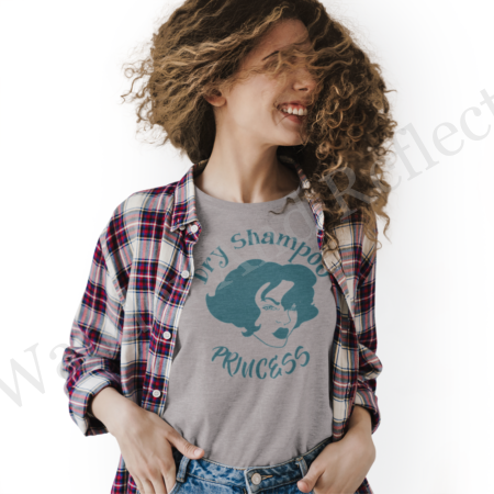 Waterless shampoo tshirt in turquoise and gray.