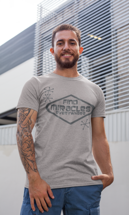 Find miracles everywhere in this cotton blend tshirt.