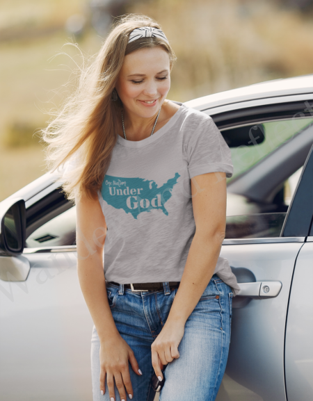 Athletic heather gray tshirt with turquoise one nation under God.