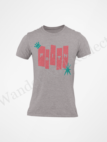 Mid-century modern bowling alley style graphic on this faithful tee.
