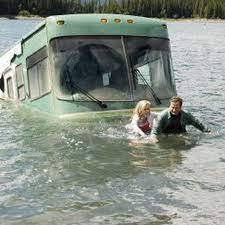 Scene from movie 'RV' where the motorhome is in the lake.