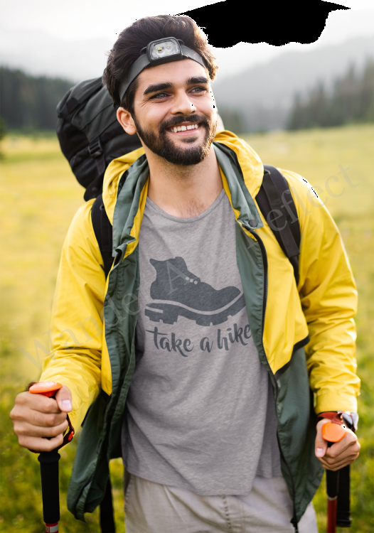 Josh hits the trail in his favorite Take A Hike t-shirt.