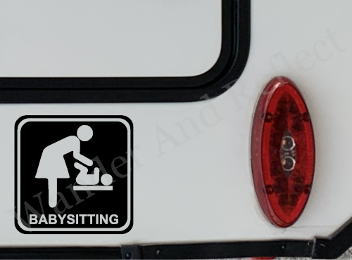 Adveritse your baby sitting and childcare skills with our reflective vinly decal.