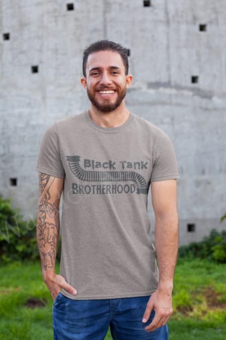 Flush your gray water in this black tank brotherhood shirt.
