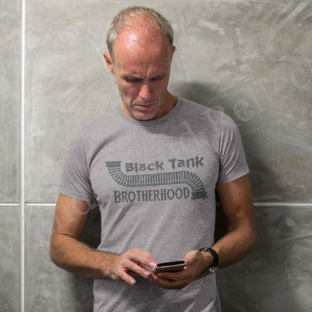 Black Tank Brotherhood t-shirt in athletic heather gray.
