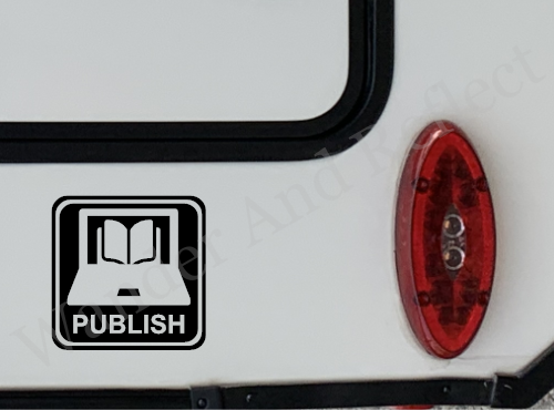 This decals promotes being a publisher.