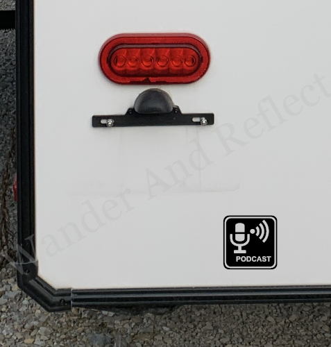 Podcaster reflective decal.
