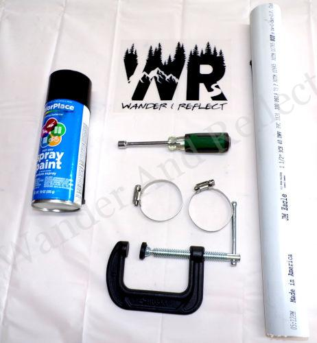 Parts needed to make a DIY campground picnic table umbrella holder.