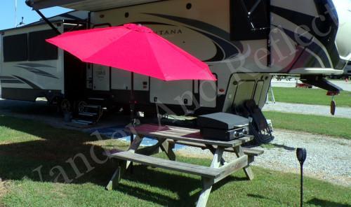 DIY campground umbrella holder.