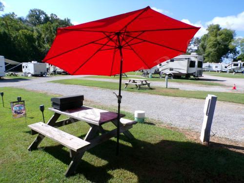 Campground umbrella DIY project.