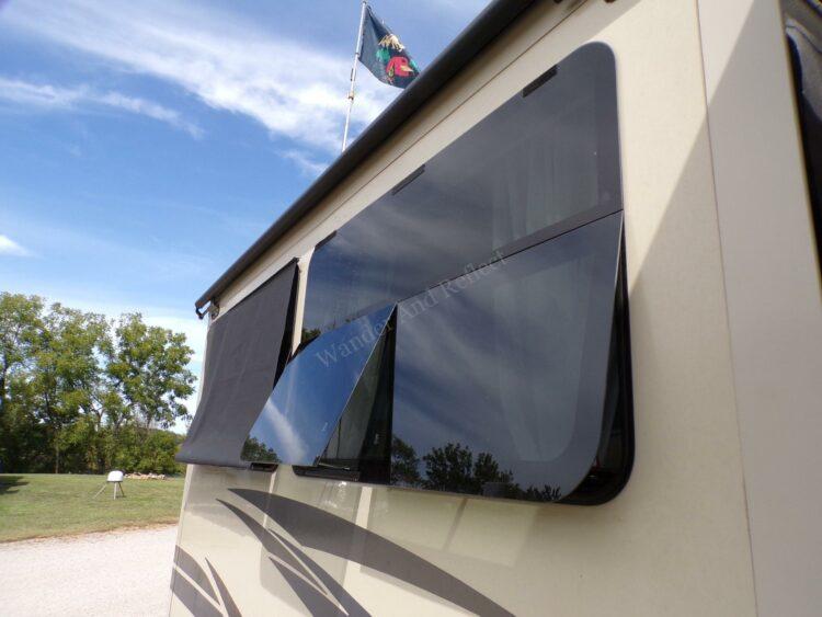RV frameless windows after modifying the crank assembly.
