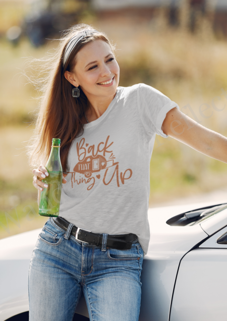 Back that thing up RV tshirt in fall colors of hazelnut and light gray..