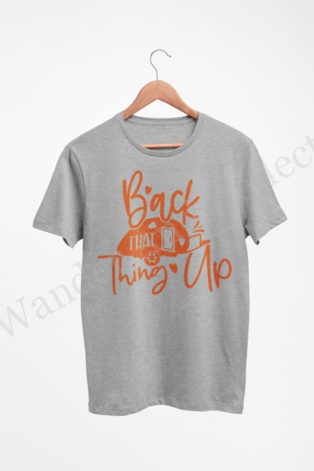 Back that thing up RV tshirt in pumpkin orange.