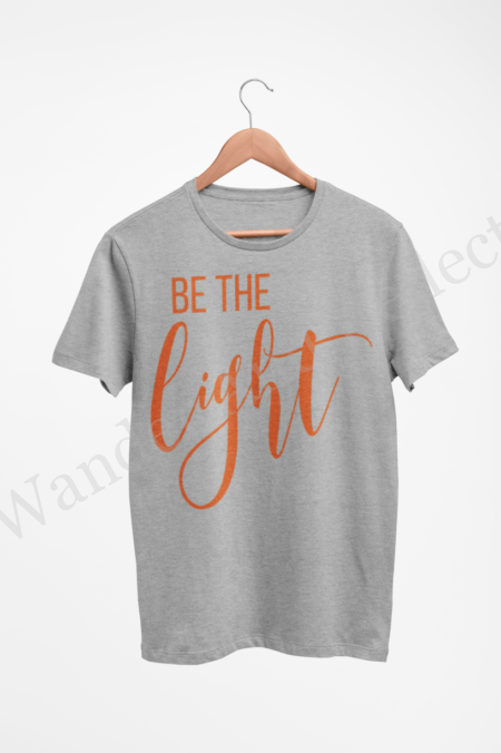 Be the light in this gray t-shirt with pumpkin orange graphics.