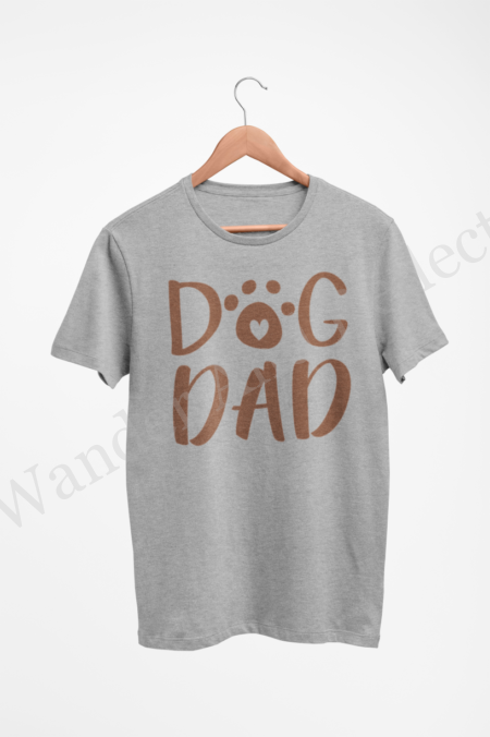 Our Dog Dad graphix tee in hazelnut brown on athletic heather gray.