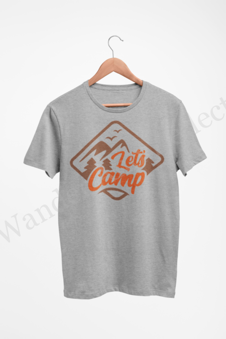 Let's camp emblazoned on a light gray shirt in fall colors of hazelnut and pumpkin orange.