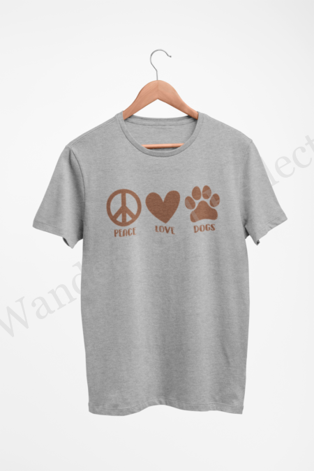 Hazelnut brown design for peace, love and dogs.