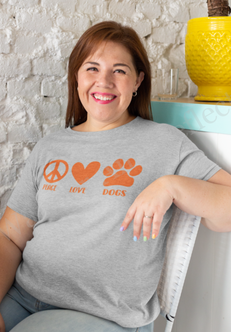 Peace love and dogs is the theme of our new #doglife shirt.