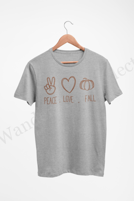 Peace sign, heart and pumpkin in hazelnut brown on our Fall clothing collection.