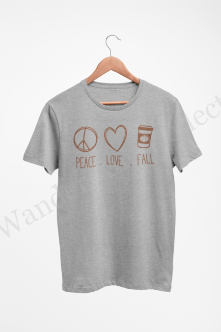Hazelnut peace sign, heart and cup of latte on a gray shirt for all your fall harvest festival activities.