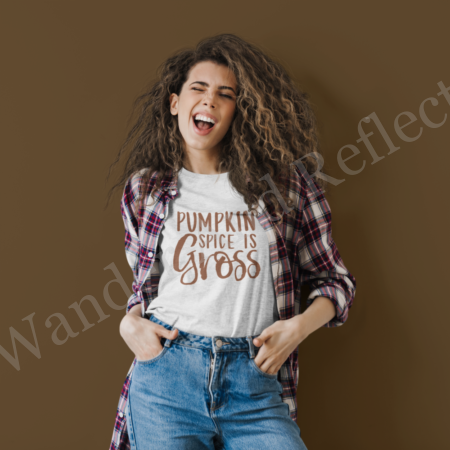 Pumpkin spice is gross and you can let the whole world know how you feel about it with this fall t-shirt from Wander and Reflect.