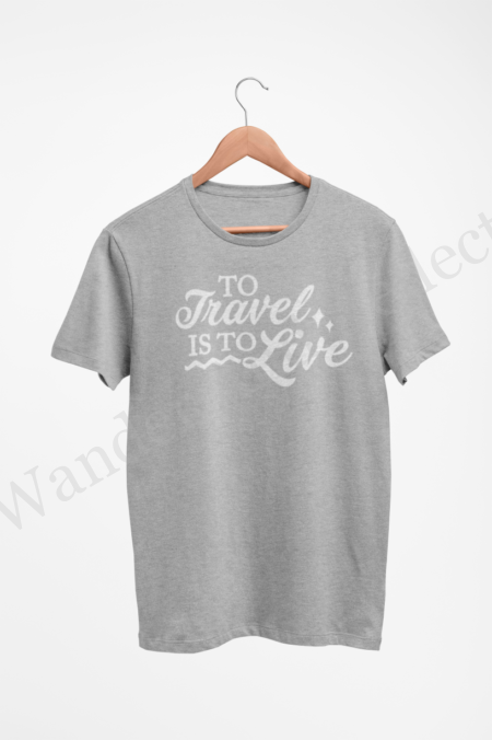 To travel is to live in white on athletic heather gray t-shirt.